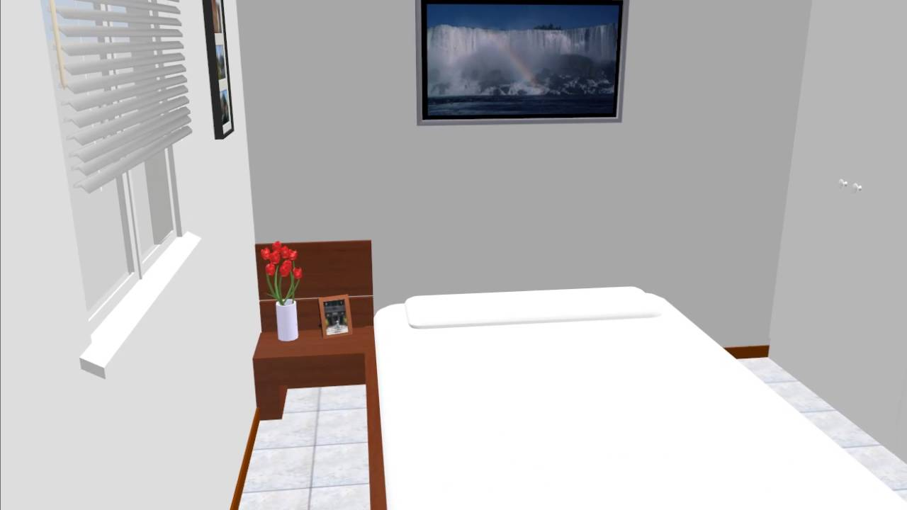 寝室レイアウト 10畳 クイーンベッド 仕切り ワードロープ
