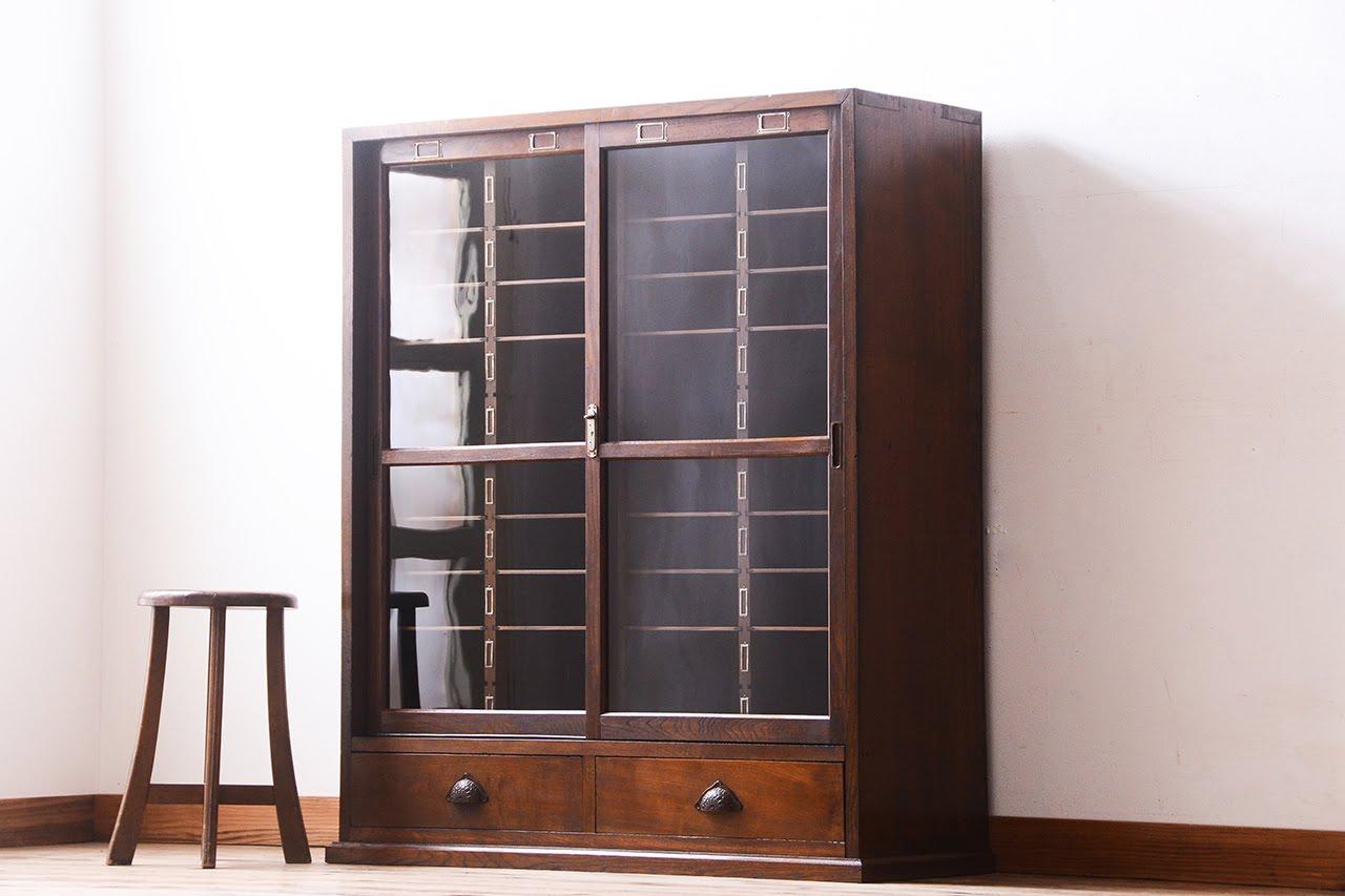 「使い込まれた古い書類棚」 - 古道具アンティーク家具の販売 ラフジュ工房 –