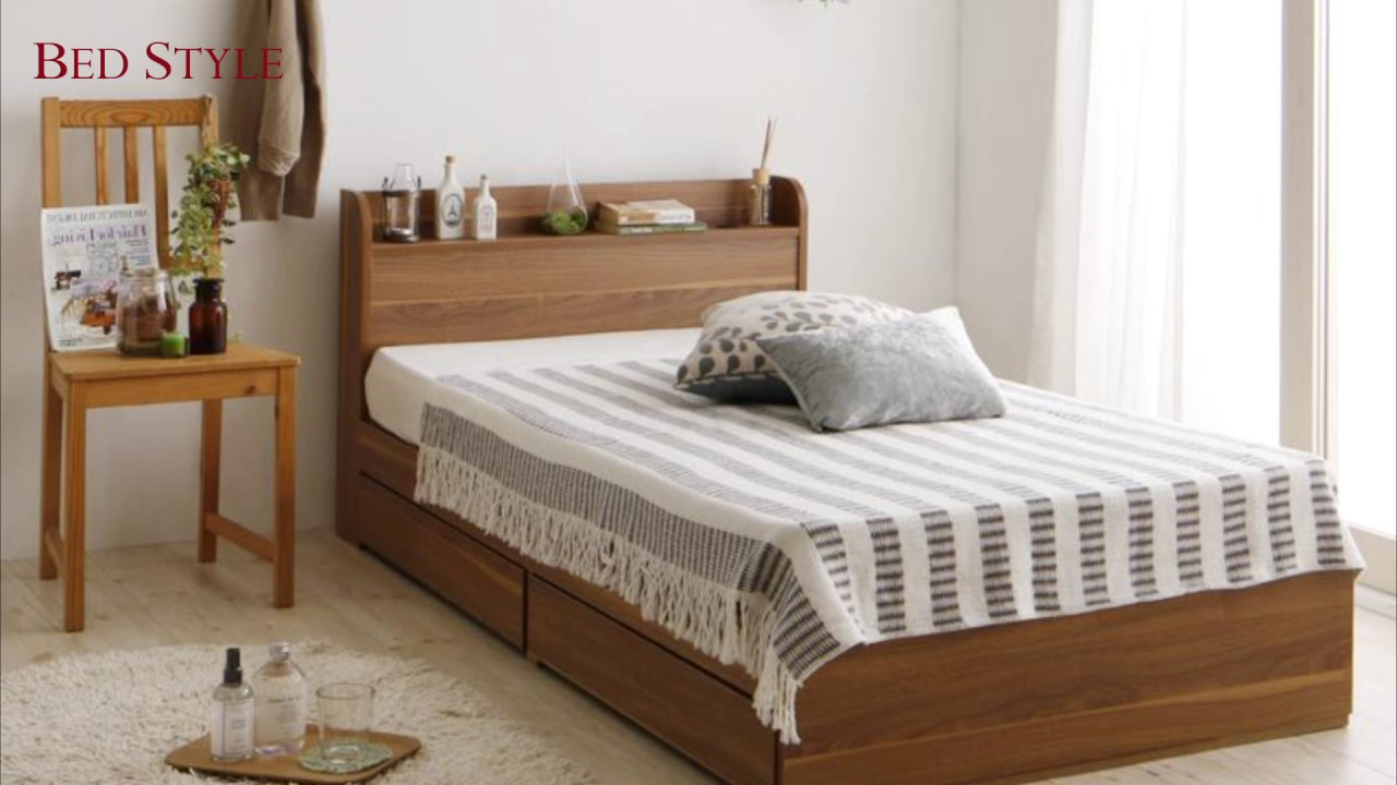 狭い場所でも置けちゃう 棚・コンセント付ショート丈収納ベッド