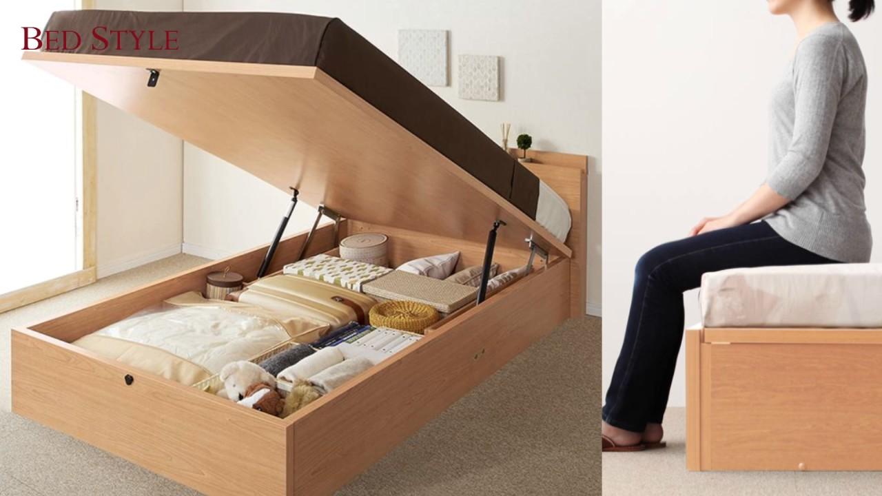 ベッド下すべてが収納に ガス圧式跳ね上げ収納ベッド