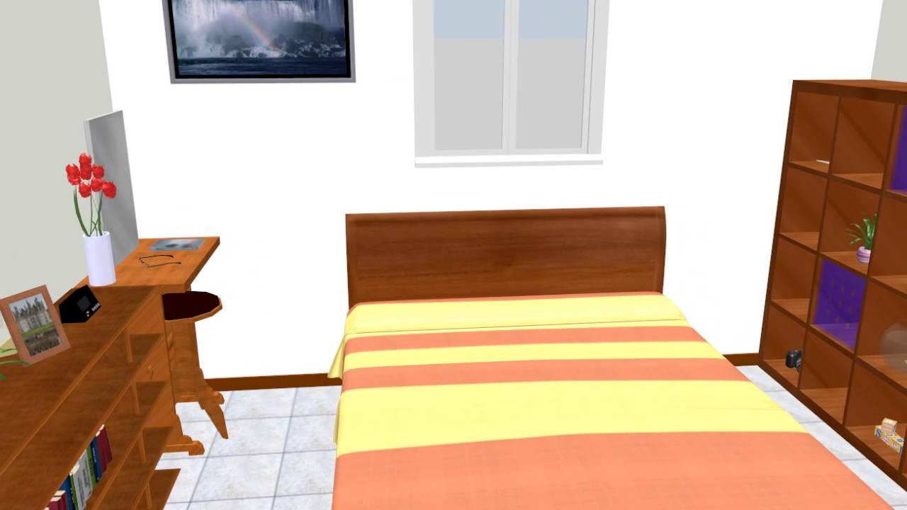 寝室レイアウト 8畳 クイーンベッド 中央配置