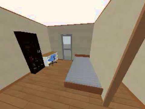 ベッド、机、本棚配置
