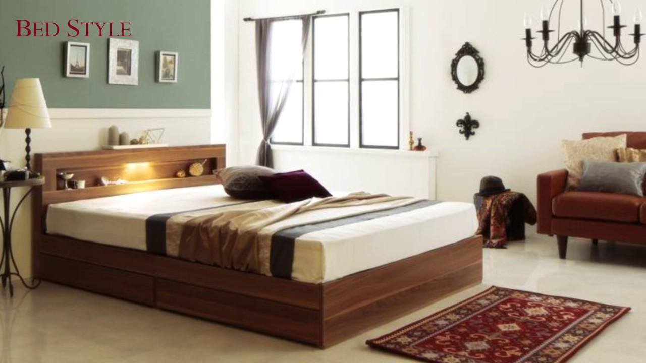 温もりに癒される寝室に LEDライト・コンセント付き収納ベッド